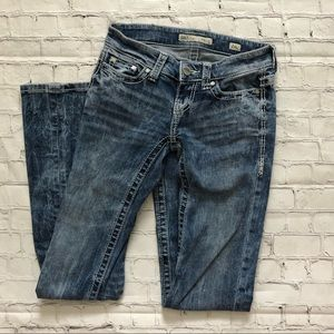 BKE Stella Distressed Flare Low Rise Blue Jeans